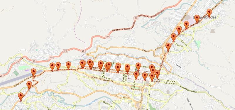 Figura 1. Mapa ruta 2 y3 Megabus (Pereira - Risaralda). Elaboración propia con Open Street Maps (OSM)