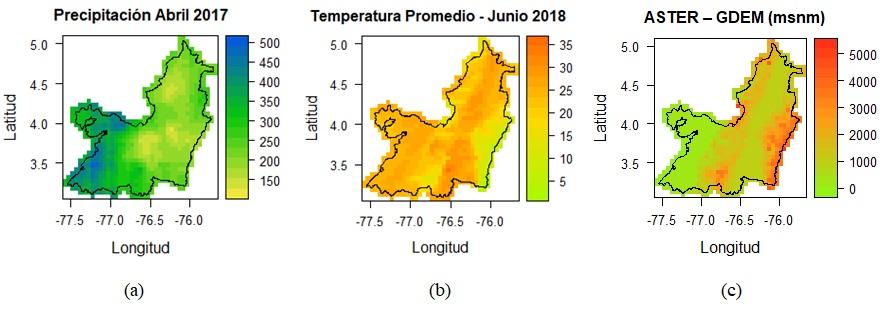 (a). Precipitación acumulada mensual desde CHIRPS (mm/mes). (b). Temperatura promedio mensual desde MODIS LTS (°C/mes). (c). Modelo digital de elevaciones desde ASTER (msnm).