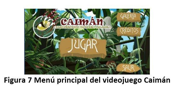 Menú principal del videojuego Caimán