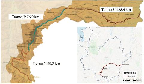 Localización del proyecto en el departamento de Antioquia y sus tres tramos. Fuente: Elaboración propia a partir de (Consorcio Ferrocarril de Antioquia 2017 – CFA2017, 2018)