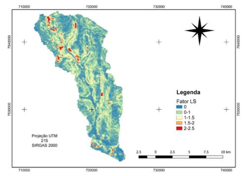 Carta do Fator topográfico da Bacia Hidrográfica do Córrego Curral de Arame – Fator LS.