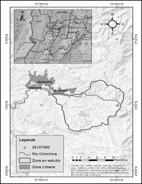 Zona en estudio con la localización de la estación hidrológica