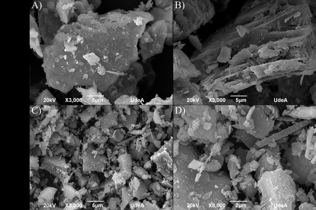 Micrografías MEB a) y b) CF y c) y d) CFm.